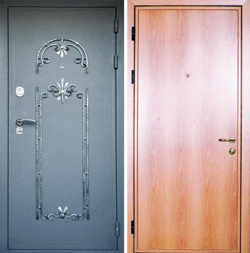 Входная металлическая дверь порошковое напыление с ковкой + ламинат СП030